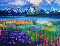 krajobrazowy obraz olejny Zdjęcie Royalty Free