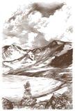 Krajobrazowy obrazek śnieżne góry i lodowy jezioro na nieba tle z chmurami ilustracji