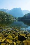 Krajobrazowy ochrona terenu Achstà ¼ rze Jeziorny Piburger Widzii i alps w tle Obraz Stock