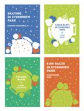 Krajobrazowy parkowy plakata wektoru szablon Kula ziemska z drzewami, budowami i aktywność, Kolor różnicy royalty ilustracja
