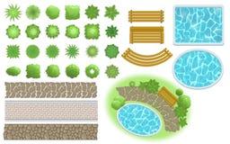 Krajobrazowy projekt i ogrodowi elementy Footpath, ławka, basen, zasadza odgórnego widok Kształtujący teren symbole ustawiających royalty ilustracja