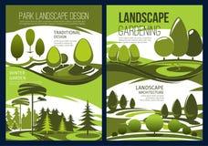 Krajobrazowy projekt, ogródu zielony drzewo i gazon, ilustracji