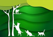 Krajobrazowy projekt z kotem na drzewie, pies, koty papierowy sztuka styl również zwrócić corel ilustracji wektora Zielony tło ilustracja wektor