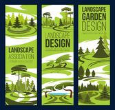 Krajobrazowy projekt, zielony drzewo i roślina, royalty ilustracja