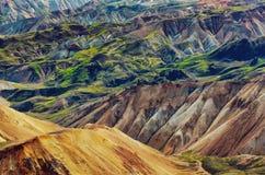 Krajobrazowy szczegółu widok Landmannalaugar kolorowe powulkaniczne góry obraz royalty free