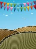 Krajobrazowy tło z chorągiewką Zdjęcie Royalty Free