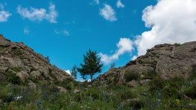 Krajobrazowy Timelapse UHD Piękna góra i niebieskie niebo z białymi chmurami zbiory wideo