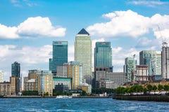 Krajobrazowy widok na Canary Wharf od temat zachodniej strony Fotografia Royalty Free