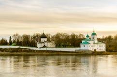 Krajobrazowy widok na kościół w Pskov, Rosja Obraz Stock