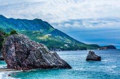 Krajobrazowy widok na morzu i górze w Montenegro Zdjęcie Royalty Free