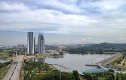 Krajobrazowy widok Putrajaya wagonu sypialnego brzeg jeziora Obraz Stock