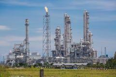 Krajobrazowy widok rafinerii ropy naftowej roślina Fotografia Stock