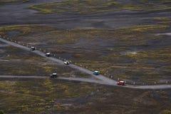 Krajobrazowy widok z lotu ptaka grupy przygoda z drogowego jeżdżenia na wycieczce samochodowej Obraz Royalty Free