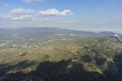 Krajobrazowy widok z lotu ptaka od Montserrat monasteru w Catalonia, sp Fotografia Royalty Free