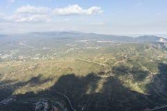 Krajobrazowy widok z lotu ptaka od Montserrat monasteru w Catalonia, sp Obraz Royalty Free