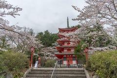 Krajobrazowy widok z wierzchu Chureito pagody w Kawaguchi, Obraz Stock