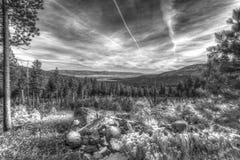 Krajobrazowy wizerunek drzewa, skały i daleka góra, Zdjęcie Stock
