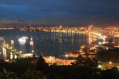 Krajobrazu i punktu zwrotnego rzeka i Pattaya miasto Tajlandia Obrazy Stock