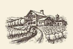 krajobrazu rolnego Pociągany ręcznie winnica lub rolnictwo Rocznika nakreślenia wektoru ilustracja ilustracji
