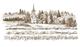 krajobrazu wiejskiego Romantyczna wioska i łąki royalty ilustracja