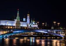 Krajobrazy noc Moskwa, Rosja Kremlin Zdjęcia Royalty Free