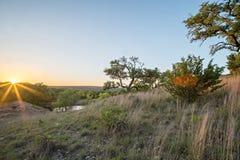 Krajobrazy wokoło wierzbowego miasta zapętlają Texas przy zmierzchem Fotografia Royalty Free