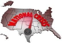 Krajowa Kryzysu USA Mapa Stany Zjednoczone Ameryka Fotografia Stock