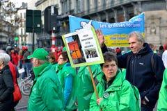 Krajowa manifestacja przeciw surowość miarom przedstawiać Belgijskim rzędem Fotografia Royalty Free