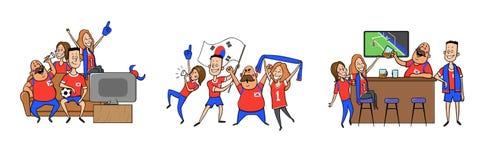 Krajowi drużyna futbolowa zwolennicy rozwesela w domu, w barze wpólnie Set fan piłki nożnej z krajowymi atrybutami ilustracja wektor