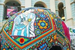 Krajowi pamiątek rzemiosła Huichol mozaika koraliki Czerep ikrustowana piłki nożnej piłka Obrazy Stock