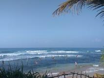 Krajowi połowów miejscowi Sri Lanka na słupach z wybrzeża ocean indyjski Fotografia Stock
