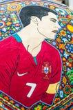 Krajowi rzemiosła Huichol mozaika koraliki Czerep ikrustowana piłki nożnej piłka z Ronaldo Obraz Stock