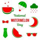 Krajowy arbuza dzień Set wektorowi elementy dla wakacje miejsce tekst ilustracja wektor