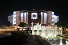 Krajowy pałac kultura NDK nocą, Sofia, Bułgaria zdjęcie stock