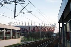Krajowy stadium i linii kolejowej stacja w Warszawa, Polska Zdjęcia Royalty Free