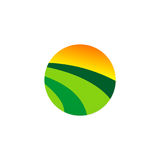 Kraju abstrakta gospodarstwa rolnego krajobrazowy round logo Obraz Stock