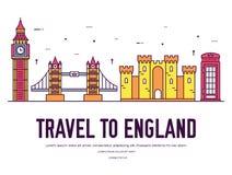 Kraju Anglia podróży wakacje miejsce i cecha Set architektura, rzecz, natury tła pojęcie Infographic Obraz Stock