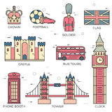 Kraju Anglia podróży wakacje przewdonik towary, miejsca w cienkim linia stylu projekcie Set architektura, ludzie, sport Zdjęcie Royalty Free
