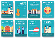 Kraju Austria podróży wakacje przewdonik towary, umieszcza i uwypukla Set architektura, moda, ludzie, rzeczy, natura Zdjęcia Stock