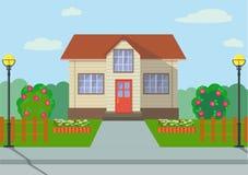 Kraju eco dom z kwiatów łóżkami, różani krzaki i lampiony w mieszkaniu, projektujemy również zwrócić corel ilustracji wektora ilustracja wektor