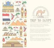 Kraju Egipt podróży wakacje przewdonik towary, umieszcza i uwypukla Set architektura, ludzie, kultura, ikony Obraz Stock