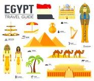 Kraju Egipt podróży wakacje przewdonik towary, umieszcza i uwypukla Set architektura, ludzie, kultura, ikony tła pojęcie royalty ilustracja