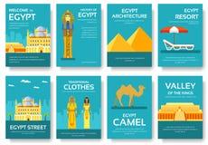 Kraju Egipt podróży wakacje przewdonik towary, umieszcza i uwypukla Set architektura, moda, ludzie, rzeczy, natura Fotografia Royalty Free
