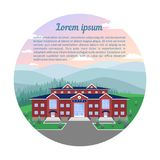 Kraju hotel w naturze przeciw tłu łąki, lasy, góry, niebo Obrazek w okręgu ilustracji