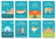 Kraju India podróży wakacje przewdonik towary, umieszcza i uwypukla Set architektura, moda, ludzie, rzeczy, natura Zdjęcia Stock
