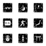 Kraju Japonia ikony ustawiać, grunge styl ilustracja wektor