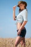 kraju kowboja pola banatki kobieta Fotografia Stock