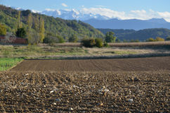 Kraju krajobraz w pogórzach Pyrenees Zdjęcia Stock