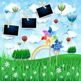 Kraju krajobraz z pinwheels i fotografii ramami Fotografia Royalty Free