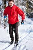 kraju krzyża mężczyzna narciarstwa potomstwa Obraz Royalty Free